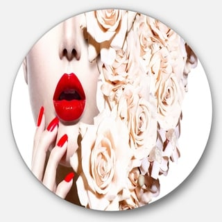 Designart 'Fashion Sexy Woman with Flowers' Portrait Sensual Disc Metal Artwork