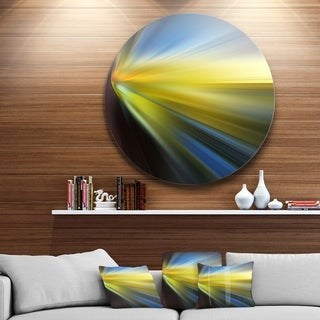 Designart 'Brown Blue Focus Light' Abstract Digital Art Round Metal Wall Art