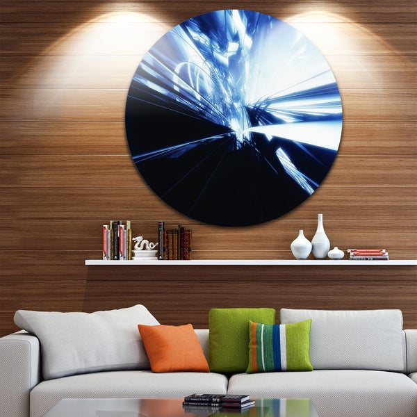 Designart '3D Abstract Art Blue Black' Abstract Digital Art Disc Metal Artwork