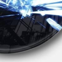 Designart '3D Abstract Art Blue Black' Abstract Digital Art Disc Metal Artwork