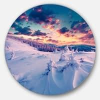 Designart 'Winter in Carpathian Mountains' Landscape Photo Large Disc Metal Wall art