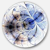 Designart 'Symmetrical Gold Blue Fractal Flower' Floral Art Circle Wall Art