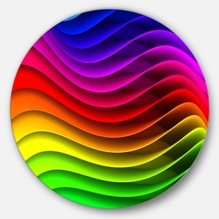 Designart 'Rainbow Downward Wave Pattern' Modern Digital Large Disc Metal Wall art