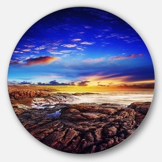 Designart 'Sunset Over the Ocean' Seascape Photography Disc Metal Artwork
