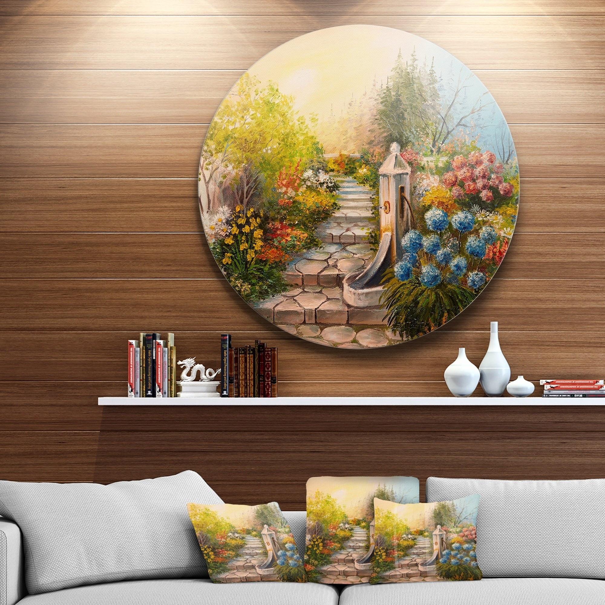 Designart Stone Stairs In Forest Landscape Round Metal Wall Art Overstock 14264889