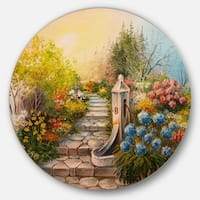 Designart 'Stone Stairs in Forest' Landscape Painting Round Metal Wall Art