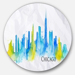 Designart 'Chicago Blue Green Silhouette' Cityscape Disc Metal Wall Art (4 options available)