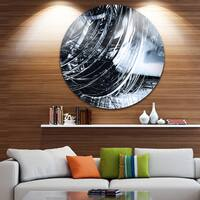 Designart '3D Abstract Art Black Spiral' Abstract Digital Art Disc Metal Artwork