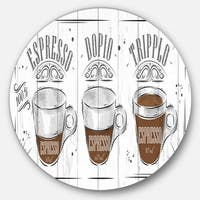Designart 'Espresso Kraf Grey' Poster Round Metal Wall Art