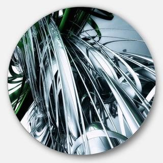 Designart '3D Abstract Art Green Black' Abstract Digital Art Circle Wall Art