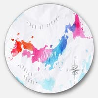 Designart 'Japan Map Watercolor' Large Disc Metal Wall art