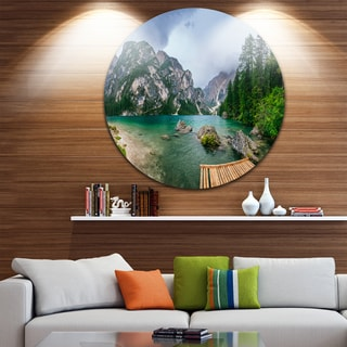 Designart 'Lake Between Mountains' Landscape Photo Round Wall Art