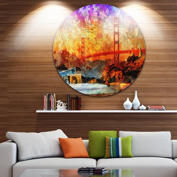 Designart 'San Francisco Bridge' Contemporary Round Metal Wall Art