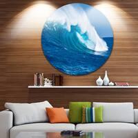 Designart 'Sea Returns' Photo Seascape Large Disc Metal Wall art