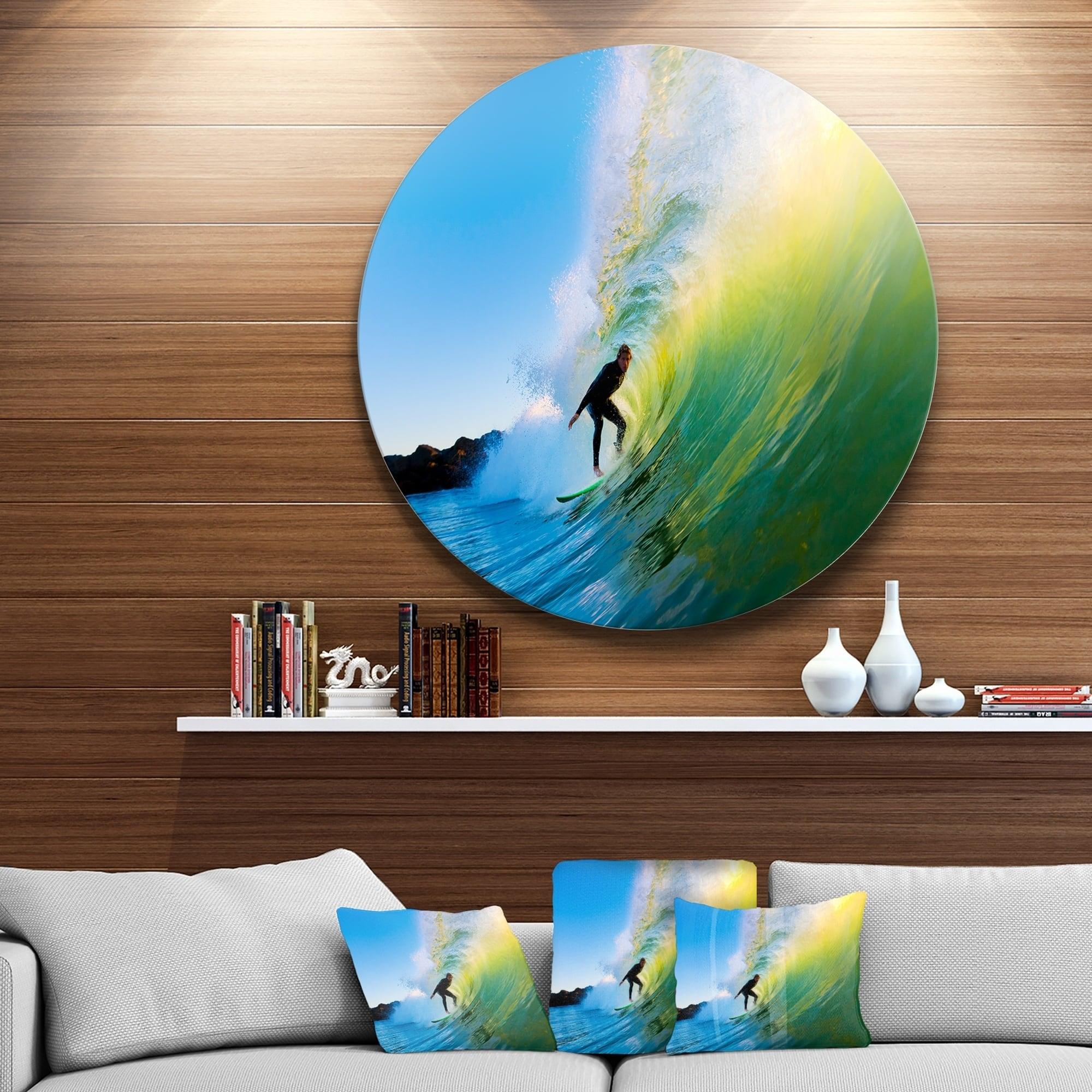 Designart Surfer Beating Green Waves Photo Disc Metal Artwork Overstock 14264996
