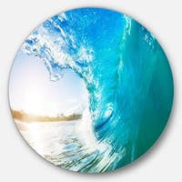 Designart 'Blue Waves Arch' Seascape Photo Circle Wall Art
