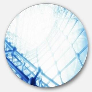 Designart '3D Abstract Art Blue Pattern' Abstract Digital Art Disc Metal Wall Art