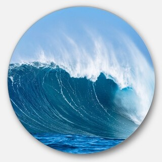Designart 'Sky Hitting Ocean Waves' Seascape Circle Wall Art