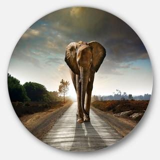 Designart 'Single Walking Elephant' Photography Large Disc Metal Wall art