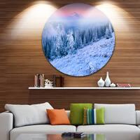 Designart 'Winter Sunrise over Mountain' Landscape Photo Circle Wall Art