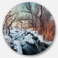 Designart 'Ukraine Winter Forest' Landscape Photo Round Wall Art