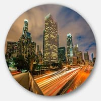 Designart 'Los Angeles Yellow Skyline Night' Cityscape Disc Metal Wall Art