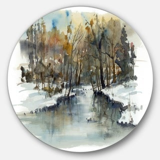 Designart 'River in Woods Watercolor' Landscape Painting Circle Wall Art