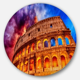 Designart 'Colosseum Rome Italy' Monumental Photo Round Metal Wall Art