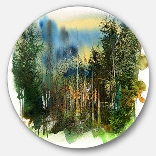 Designart 'Colorful Forest Watercolor' Landscape Painting Circle Wall Art