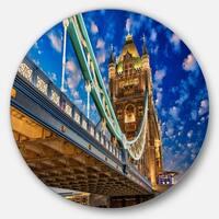 Designart 'Lights on Tower Bridge' Cityscape Photography Disc Metal Wall Art