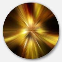 Designart 'Explosion of Golden Hue' Abstract Digital Art Large Disc Metal Wall art