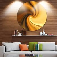 Designart 'Brown Waves Curved Texture' Abstract Digital Art Round Wall Art