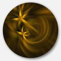 Designart 'Play of Golden Stars' Abstract Digital Art Disc Metal Wall Art