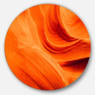 Designart 'Orange Upper Antelope Canyon' Landscape Photo Circle Wall Art