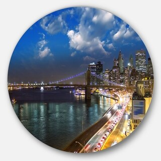 Designart 'New York City Wonderful Sunset View' Cityscape Photo Disc Metal Artwork