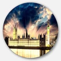 Designart 'Parliament at River Thames' Cityscape Photography Circle Wall Art