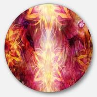 Designart 'Titmouse Birds and Golden Mandala' Abstract Digital Disc Metal Wall Art