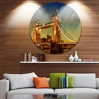 Designart 'Majesty of Tower Bridge' Cityscape Photography Disc Metal Wall Art