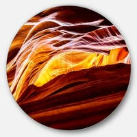 Designart 'Yellow in Antelope Canyon' Landscape Photo Disc Metal Wall Art