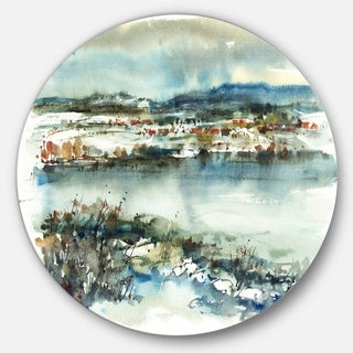 Designart 'Blue Winter Lake Watercolor' Landscape Painting Disc Metal Artwork