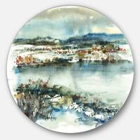 Designart 'Blue Winter Lake Watercolor' Landscape Painting Disc Metal Artwork