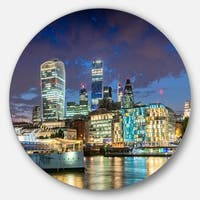 Designart 'Thames River at Night' Cityscape Photography Large Disc Metal Wall art