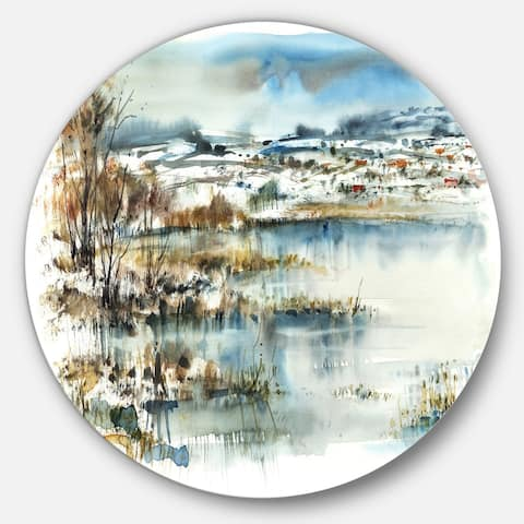 Designart 'Wide Blue Winter Lake Watercolor' Landscape Painting Circle Wall Art