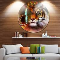 Designart 'Tiger with Butterfly Wings' Animal Digital Art Round Metal Wall Art