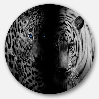 Designart 'Leopard and Tiger in Black' Animal Digital Art Large Disc Metal Wall art