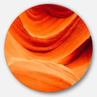 Designart 'Antelope Canyon Orange Wall' Landscape Photo Round Wall Art