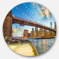 Designart 'Bridge Park Brooklyn' Cityscape Photography Large Disc Metal Wall art