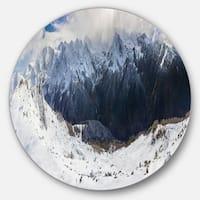Designart 'Winter Mountain in Svaneti' Landscape Photo Circle Wall Art