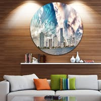 Designart 'Miami Skyline with Clouds' Cityscape Photo Round Wall Art