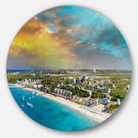 Designart 'Panoramic Caribbean Island' Landscape Photo Disc Metal Wall Art